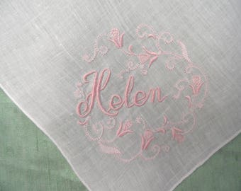 White HELEN handkerchief / vintage, embroidered name hankie /  pink and white / monogram Helen / personalized Helen