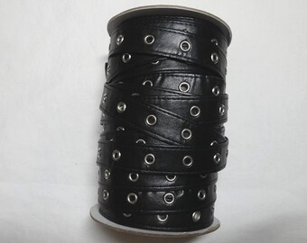 3/4 Inch Black Pleather Eyelet Grommet Tape, Nickel Eyes, 3/16 In. Inside Eyelet, BY the YARD, Lace-Up Garment, Steampunk, Trim, Home Sewing