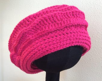 So Very Pink Hand Crocheted Beret Slouchy Hat