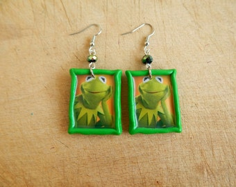 Kermit Earrings - Muppet Earrings - Frog Earrings