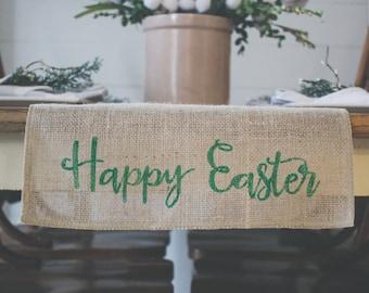 Happy Easter Burlap Table Runner, Table Runner, Spring Table Runner,  Rabbit, Bunny