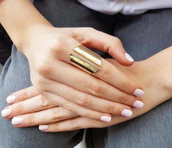 Gold long ring Chunky ring Open ring ring Cuff ring