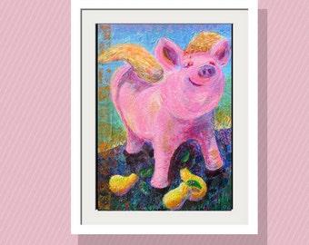 Kids Wall Art Angel Pig and Pears Art Print 10 x14 Limited Edition -Original Acrylic Painting, Folk Art Pig - Whimsical