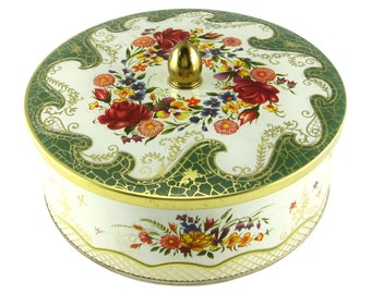 Vintage Tin Biscuit Tin DAHER Tin Made In England Candy Tin With Knob Embossed Tin Lithographed Tin Floral Tin Collectible Tin Container