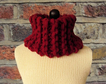 SALE, Red Snood, Red Scarf, Knitted Scarf, Chunky Knit Cowl, Women's Neck Warmer, Winter Scarf, Handmade Clothing, Gifts for Her, Sue Maun