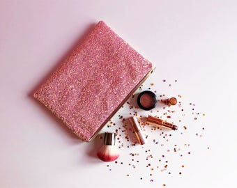 Candy Pink Glitter Clutch Bag, Light Pink Sparkly Bag, Gold Glitter Bag, Pastel Pink Clutch Bag, Candy Pink Evening Bag, Pastel Glitter,