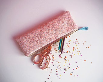 Pink Iridescent Glitter Pencil Case, Baby Pink Rainbow Glitter Zipped Case, Rainbow Glitter Stationery, Pink Iridescent Case,