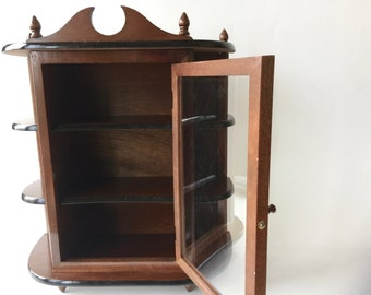Large Vintage Curio Wall Cabinet 21 Inch Solid Wood Glass Door