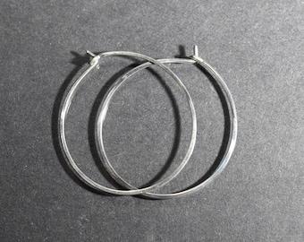 Pair Sterling Hoop Earrings,1.25 inch Lightweight Modern Minimalist Design, Simple Hoops, Sterling Silver hoop,