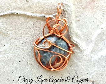 Crazy Lace Agate Copper Pendant | Crazy Lace Agate | Copper Pendant | Copper Necklace | Agate Necklace | Agate Pendant