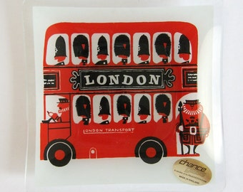 Vintage Chance Glass Tray - London Transport Double Decker Bus - Square Glass Dish - British Home Decor - Small Valet Tray - London Souvenir