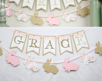 Floral Bunny Birthday Banner and Garland | Garden Floral Bunny First Birthday