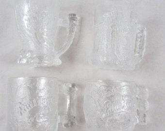 4 Flintstones Mugs Cups Drinking Glasses McDonalds 1993