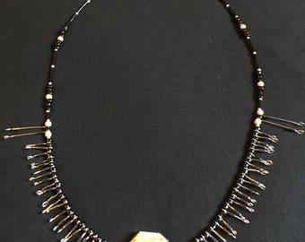 Unique beaded metal wooden necklace