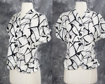 1980s print blouse, white and black, paint splatter, button up top, cap sleeve, short sleeve top, XS