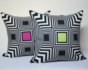 18x18 geometric pillow cover , fuchsia pillow, lime pillow, modern pillow cover, optical illusion pillow cover