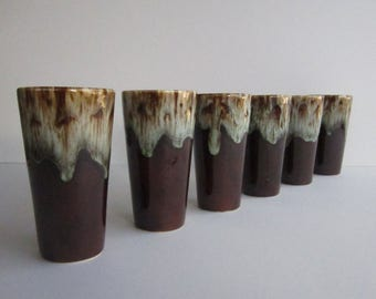 "Canonsburg Pottery ""Brown Drip, Green Tones on Edge  - 6 Beverage Glasses —Mid Century Dishes"