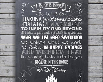 In This House We Do Disney - Chalkboard Print or Canvas