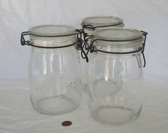 Vintage French Duralex 1 Liter Canning Jars with Clip Lid - Set of 3