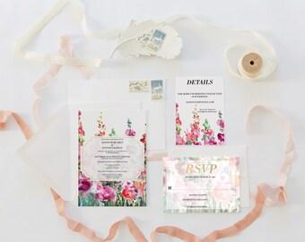 Paxton Invitation Suite | Watercolour floral wedding Invitations | RSVP | Details card | classic font