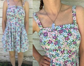 Vintage Women's Floral Mini Summer Sundress Lanz Originals with Pockets Cotton Flower Fabric