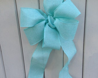 Aqua Bow ribbon Chair Pew wedding linen look gift bows garland spring decoration buffet table decor