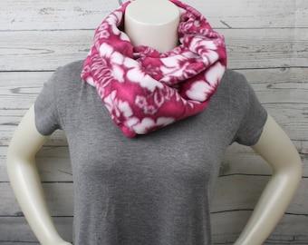 Pink Hibiscus Fleece Infinity Scarf