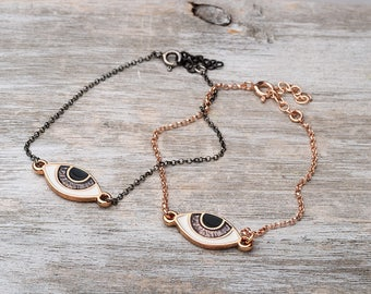 Evil eye Bracelet Black Chain Bracelet Dainty Bracelet Sterling Silver Black Gold Plated Black Evil Eye Bracelet Birthday gift