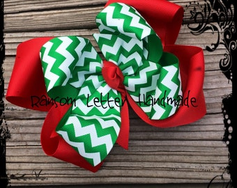 Big Traditional Christmas Bow Red and Green Hair Bow Green Dresses Red Baby outfits Custom Christmas Bows Toddler Hair Bows for Christmas