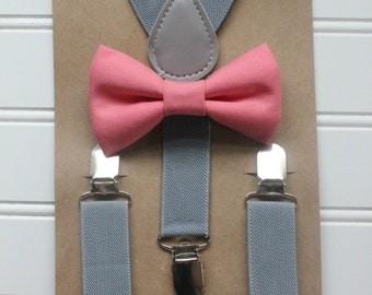 Bowtie & Suspenders- Melon/Gray