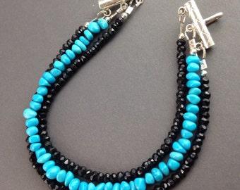 Sleeping Beauty Turquoise bracelet ~ Black Spinel bracelet ~ Turquoise bracelet ~ unique jewelry, Sterling, womens jewelry ~ Twilight Beauty