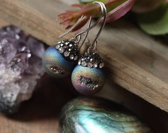 Peacock Druzy dangle earrings with rhinestones >> gift for her modern boho chic bohemian trendy boho style festival fashion boho glam luxe