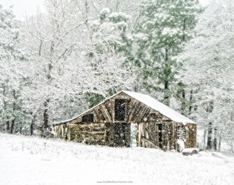 Barn Photograph, Winter Barn Fine Art Print or Canvas Wrap, Barn in Snow Landscape, Winter Barn Landscape Art