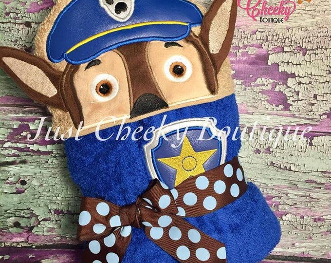 3D Cop Pup Inspired Hooded Towel - Paw Patrol - Chase