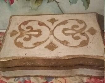 Vintage Tole Jewel Box Wood