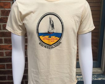 Cayman Islands Ultra Thin Resort XL 50/50 Vintage Cream Tee T-shirt