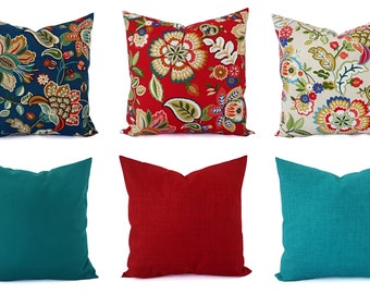 Outdoor Throw Pillow Cover - Floral Pillow Sham - Red Throw Pillow - Teal Pillow Cover - Solid Throw Pillow - Red Pillows - Blue Pillows