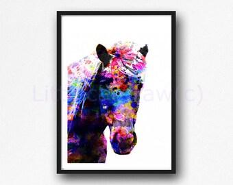Horse Print Colorful Horse Portrait Watercolor Print Horse Watercolor Painting Print Horse Lover Watercolour Wall Art Unframed