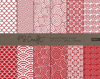 Chinese Red Pattern Digital Paper, Asian Red Digital Paper, Red Paper, Chinese New Year Digital Paper