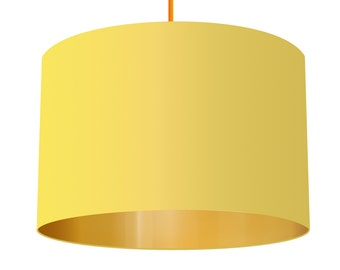 Yellow Linen Fabric Drum Lampshade With Brushed Metallic Gold Effect Lining