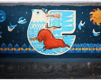 Urban wall graffiti , street art fine art photography