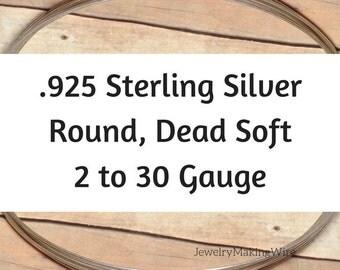Sterling Silver Wire, Round, Dead Soft, 2 4 6 8 10 11 12 13 14 16 17 18 19 20 21 22 24 26 28 30 Gauge, Jewelry Making Wire