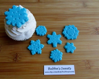 SNOWFLAKE Cupcake TOPPERS - (24) Winter ONDERLAND Favors/Holiday Party