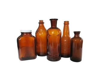 Vintage Brown Glass Bottle Collection Set of 5