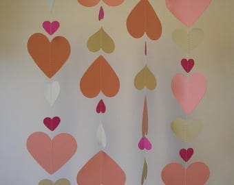 Hand made Thick Card Stock Paper Party Wedding Christmas Decoration Streamer Ivory and Pink Hearts