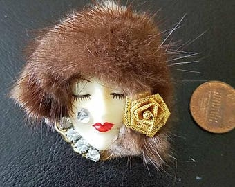 Vintage Woman's Face Brooch