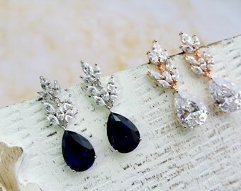 Art Deco Earrings,Dark Sapphire Blue  Bridal Earrings, Wedding Earrings, Bridal Jewelry , Crystal Teardrop Earrings ,Wedding Jewellery