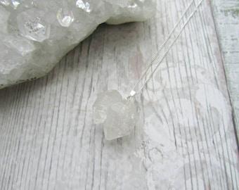 Herkimer Diamond 925 Sterling Silver Raw Quartz Pendant Necklace Gemstone Jewellery