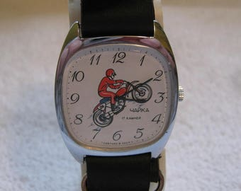 Mens Rare Vintage Wrist Watch with Motorcycle & Rider on White Dial Fully Serviced Honda Suzuki Yamaha Trailbike Racer