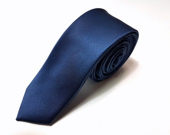 SKINNY Silk Tie in Midnight Navy Blue